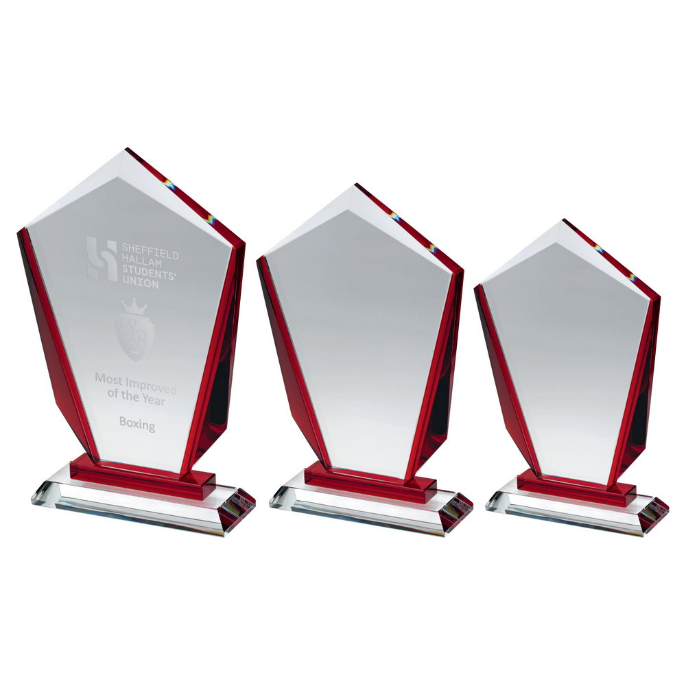 Clear Glass Award with Red Sides