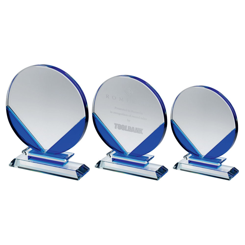 Clear and Blue Glass Circle Award