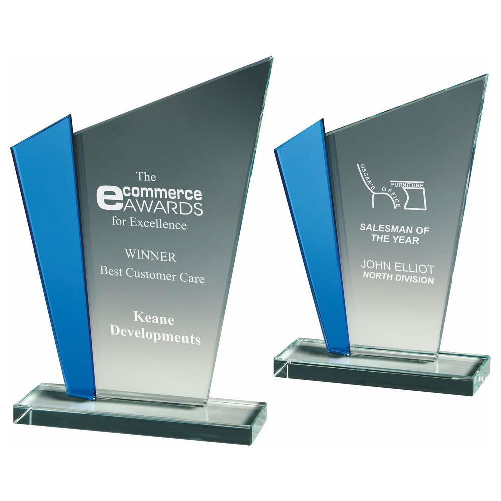 Clear Glass Pointed Award with Blue Panel