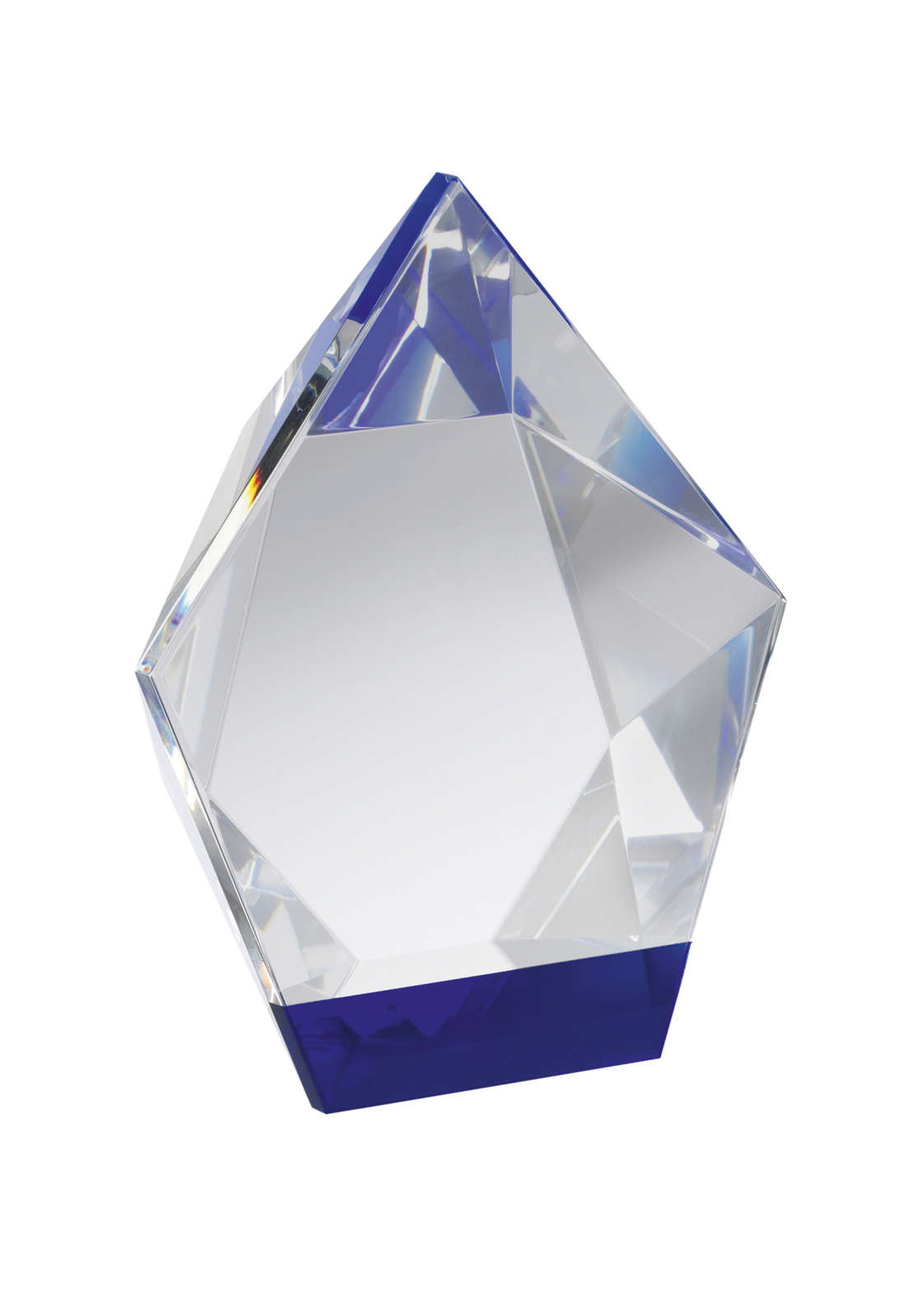 Optical Crystal Diamond Award with Blue Base
